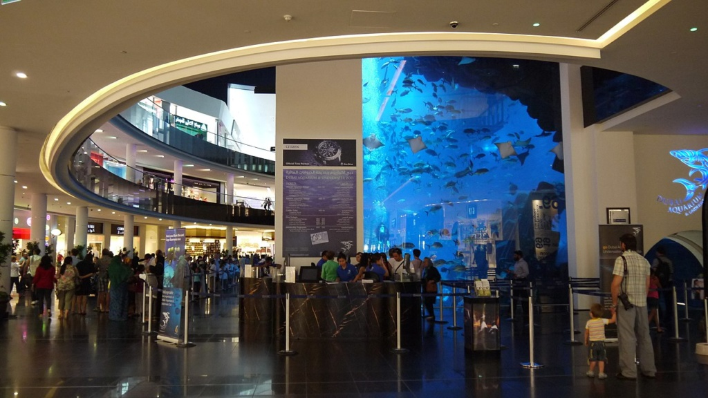 Best aquariums in the World 2017 | Dubai Mall Aquarium Exterior View | Wordcitiesranking.com